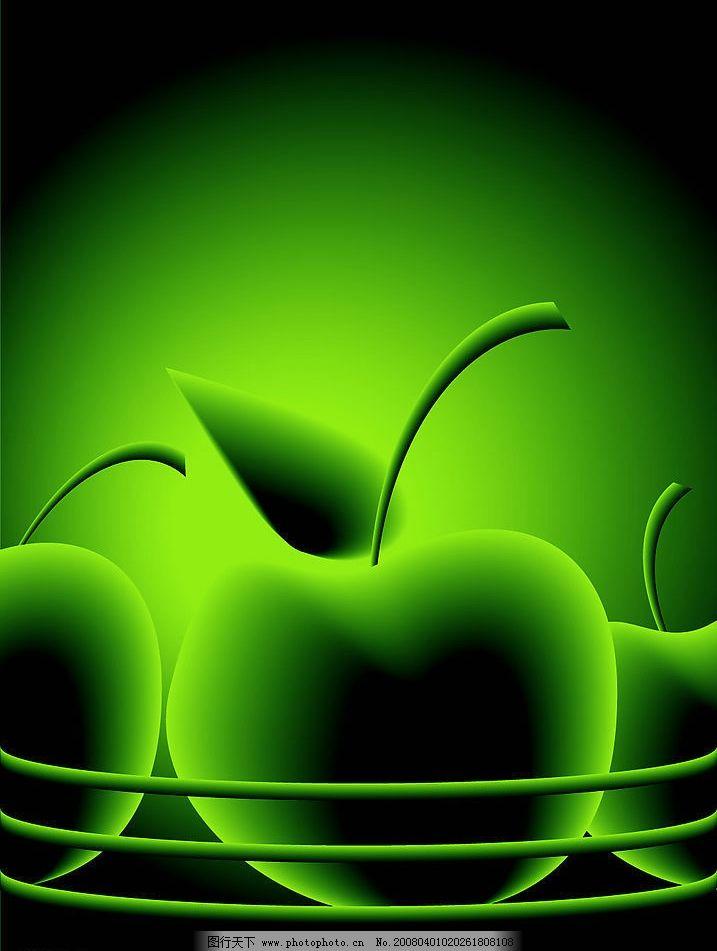 绿色矢量苹果背 绿色矢量苹果背景 底纹边框 底纹背景 矢量图库