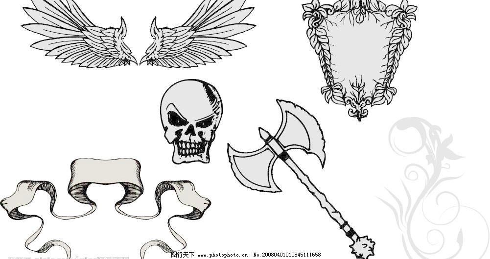 欧式华丽潮流元素矢量素材 翅膀 斧头 花纹 骷髅头 欧式华丽潮流元素