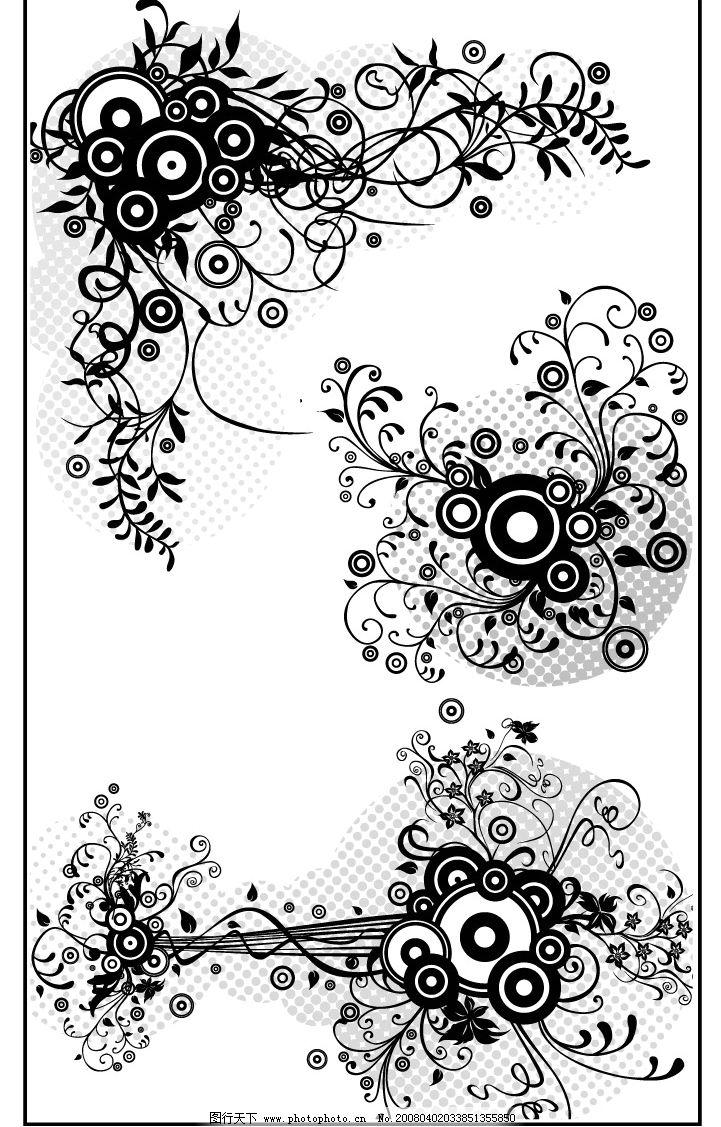 时尚线描花纹 其他矢量 矢量素材 矢量图库