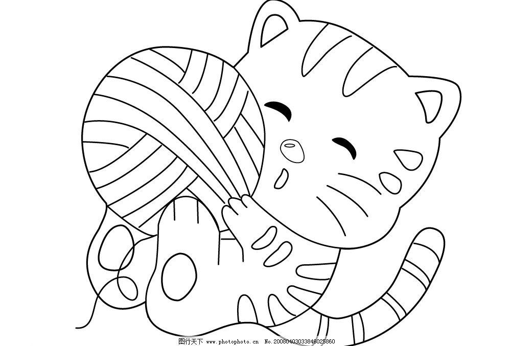 小猫 卡通 线条轮廓 动物 宠物 其他矢量 矢量素材 矢量图库