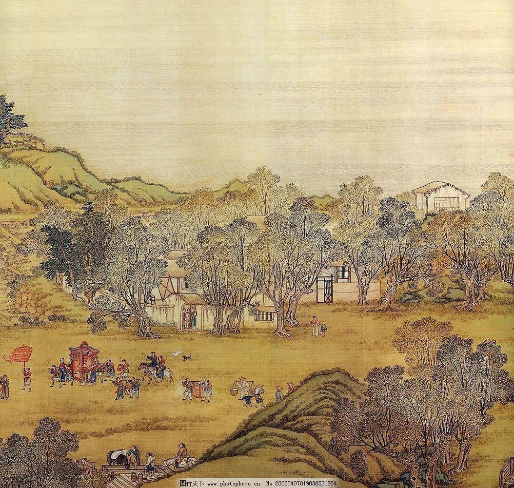 清明上河图 局部 名画 中国画 历史 古画 山水 古人 古房 花轿