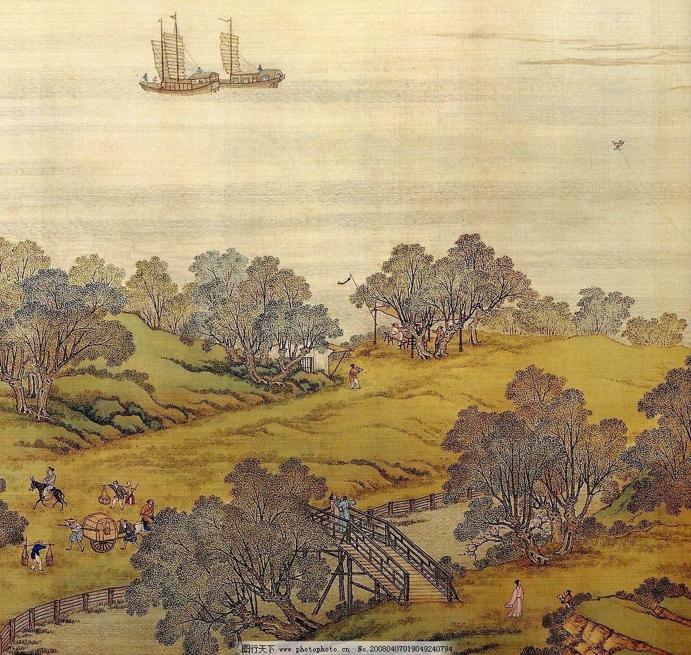 清明上河图 古画 中国画 名画 古代 历史 山水 鱼船 树木 绘画
