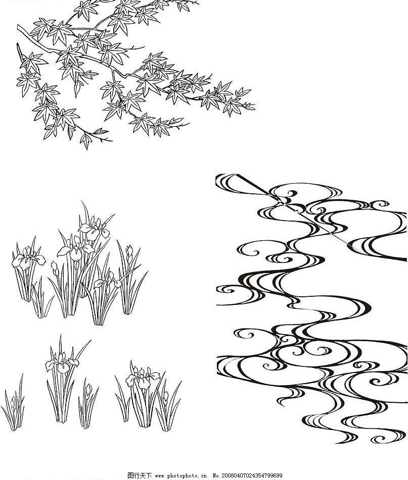 红叶荸荠和水纹图片图片