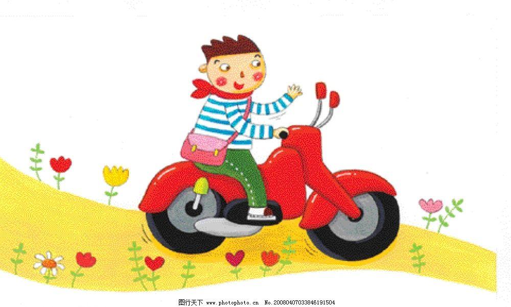 在功丛中骑车的小男孩图片