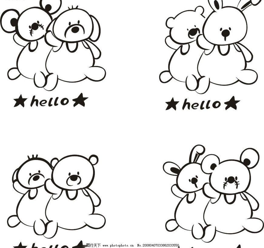 动物 线条 素描 小熊和其它小动物的组合 其他矢量 矢量素材 矢量图库