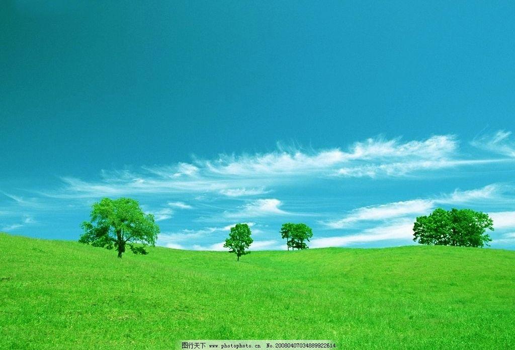 蓝天 绿地 草坪 树 山破 自然景观 自然风景 摄影图库 72 bmp
