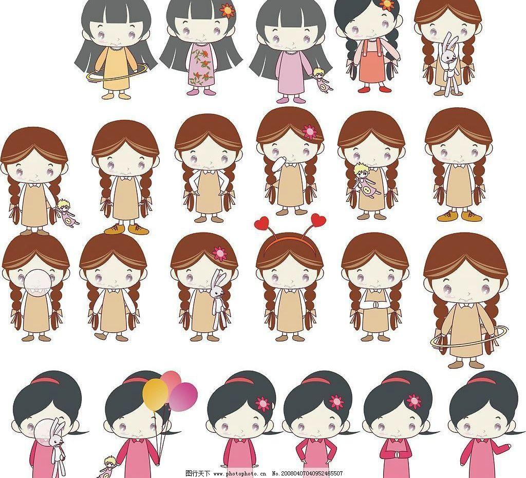 可爱女孩第二季 儿童可爱娃娃 矢量人物 儿童幼儿 矢量图库   cdr