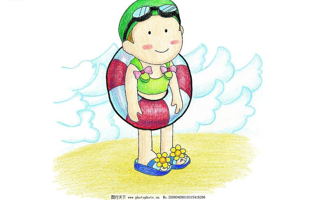 彩色铅笔 手绘 游泳圈 小女孩 花拖鞋 微笑 动漫动画 动漫人物 手绘