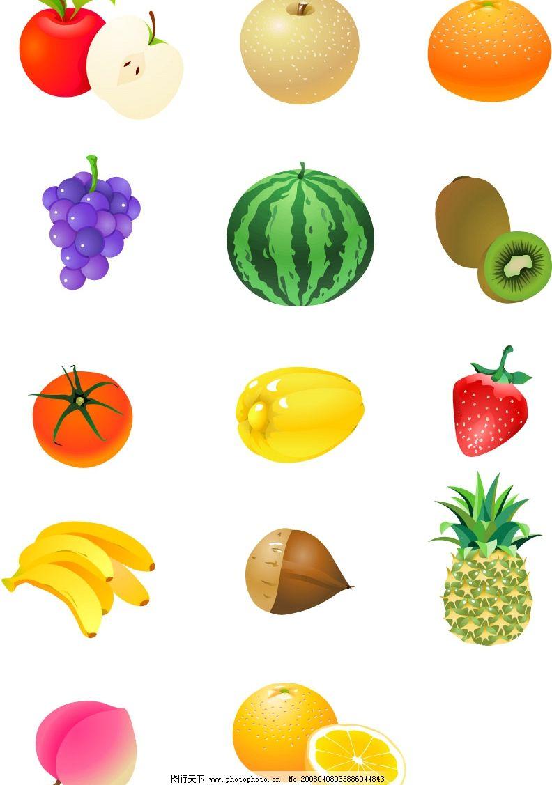 新鲜水果 其他矢量 矢量素材 各类精美矢量图标锦集 矢量图库   ai