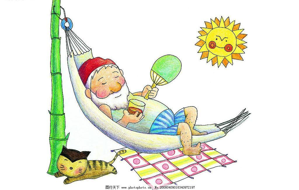 猫 老爷爷 扇子 享受 彩色铅笔手绘 动漫动画 动漫人物 手绘欢乐家庭
