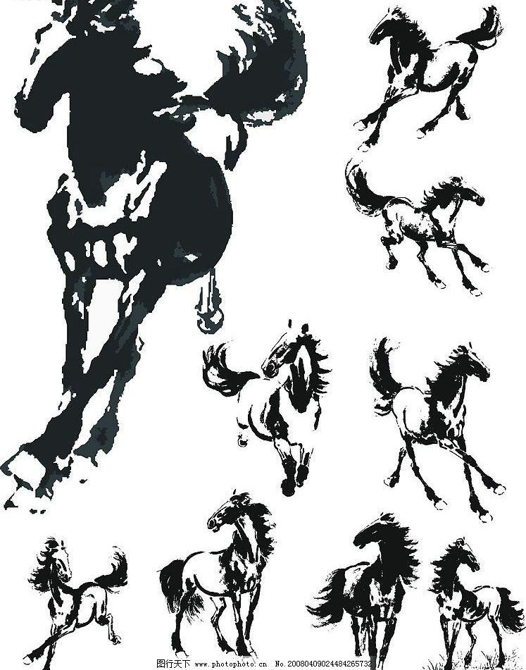 奔跑的马 矢量的马 各种动作 站立 矢量图库