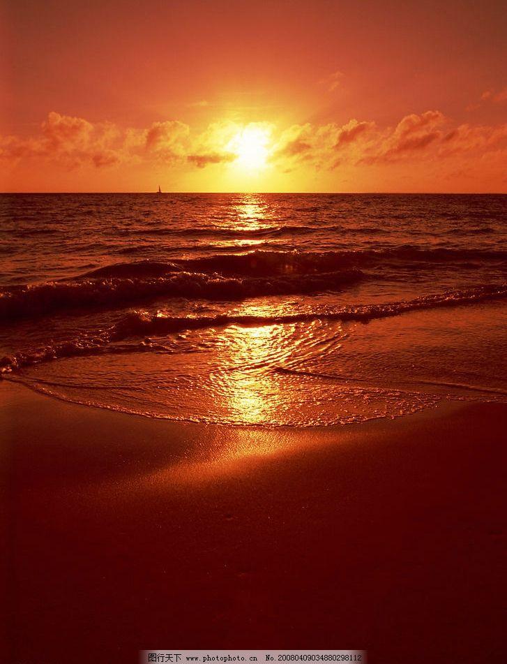 落日图片,夕阳 风景 黄昏 余辉 美丽 海边 大海-图行
