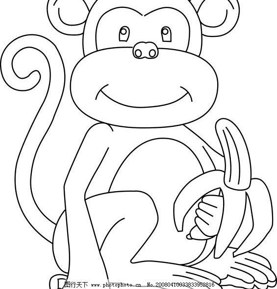 猴子 卡通 线条画 漫画 动物 小猴 轮廓图 其他矢量 矢量素材 矢量