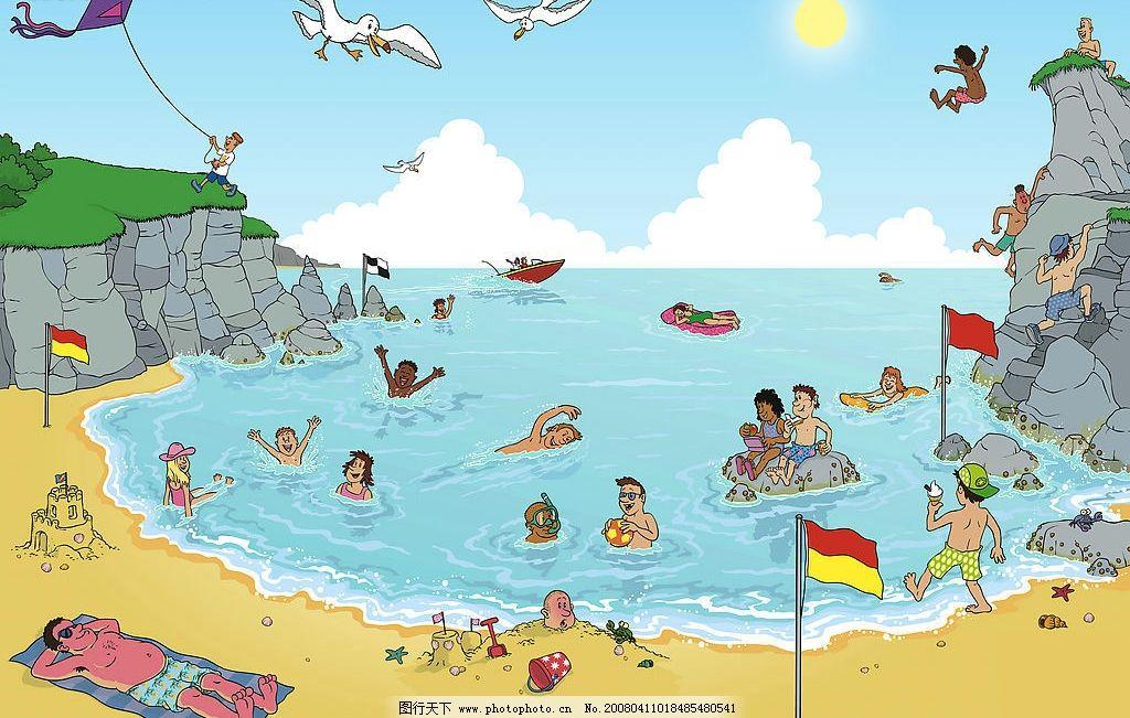 儿童画 海滩 海湾 儿童 夏天 大海 沙滩 动漫动画 风景漫画 设计图库