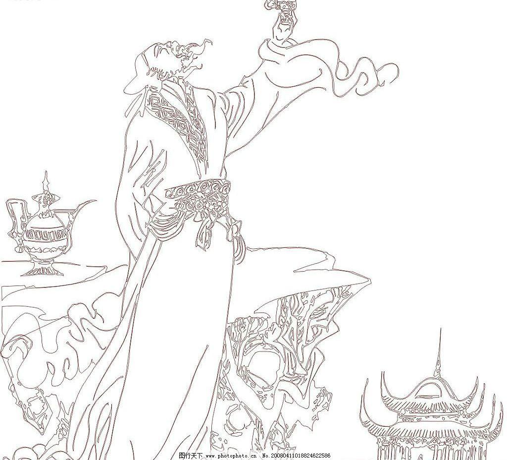 简笔画人物古代李白人物