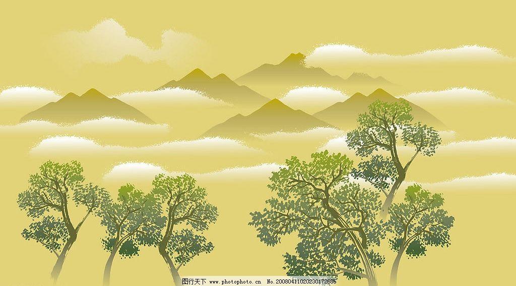 手绘风景图案 远山 白云