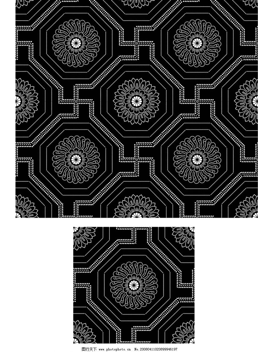 黑白图案 底纹边框 其他 矢量图库   ai
