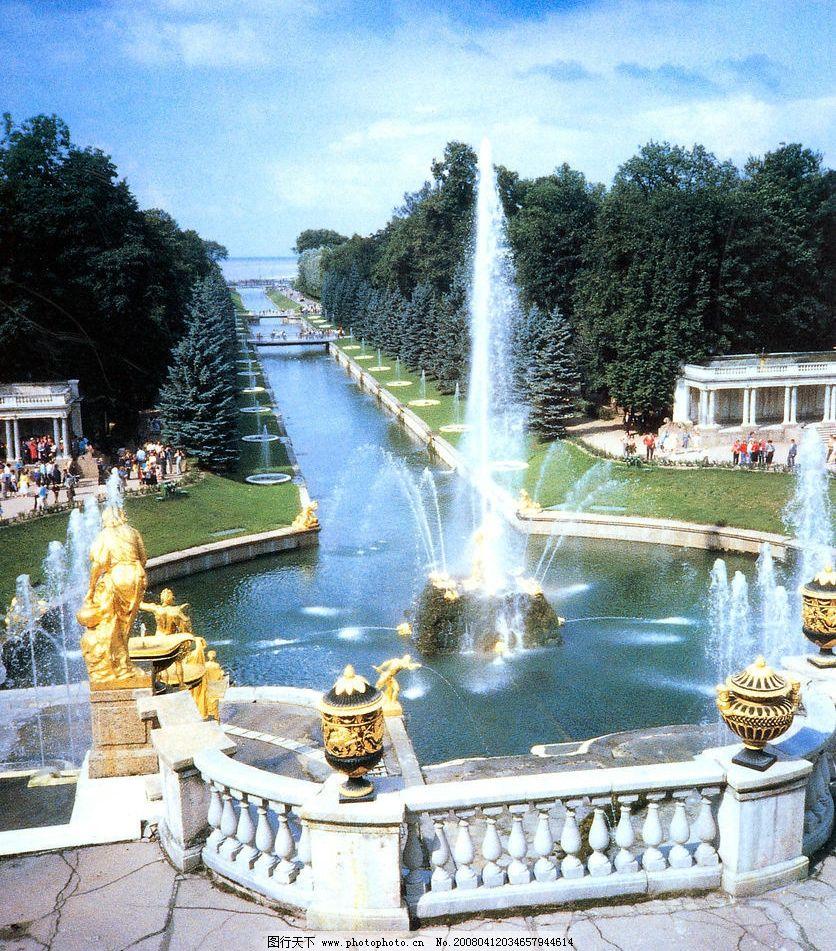 外国风情 外国风景 外国名胜 城堡 喷水池 园林 绿化 摄影图库