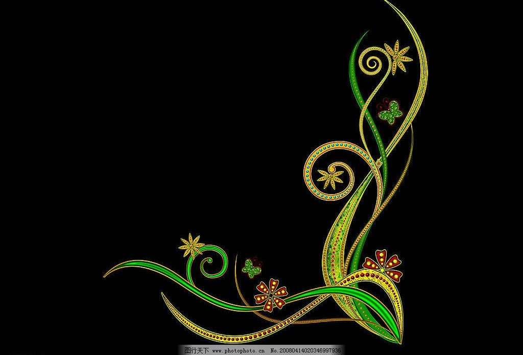 炫彩花纹 黑底色 绿色花纹 底纹边框 花边花纹 炫彩花纹集 设计图库