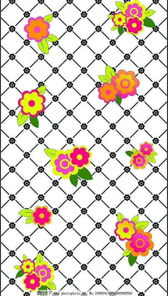 可爱花 网格上的花 其他矢量 矢量素材 矢量图库