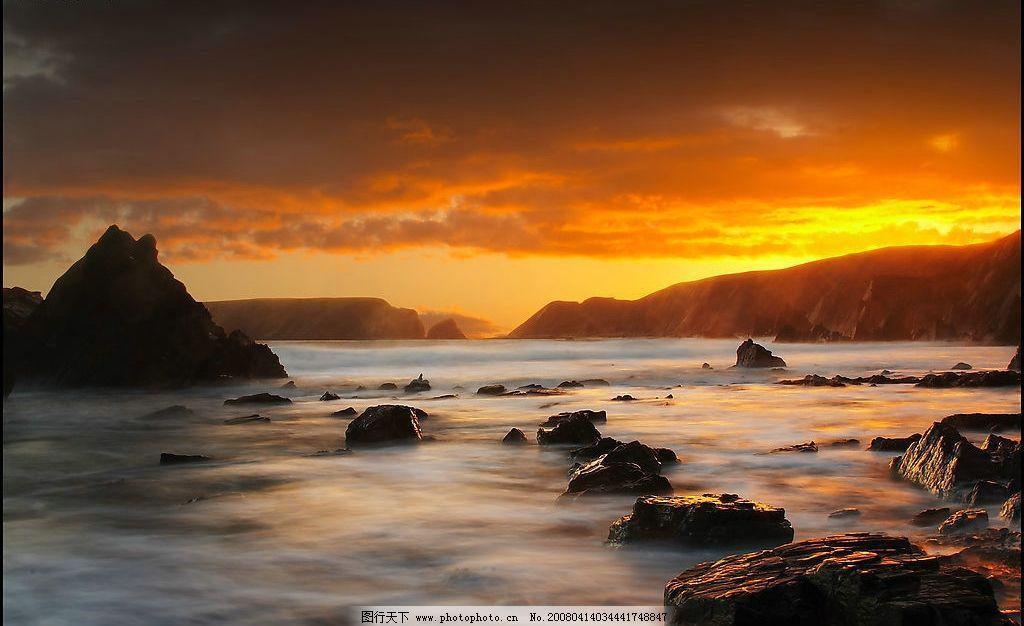 夕阳 天空 远山 山 水 朦胧 风景 自然景观 山水风景 自然山水风景