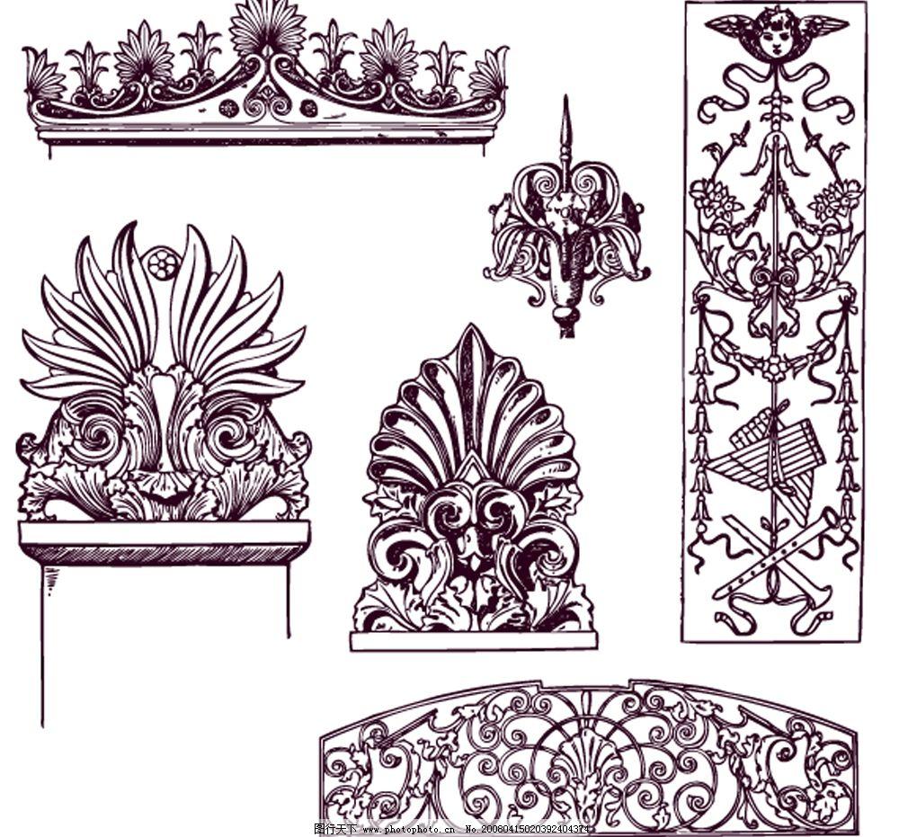 欧式柱子花纹 矢量素材 花纹 华丽 欧式 柱子 底纹边框 花纹花边 矢量