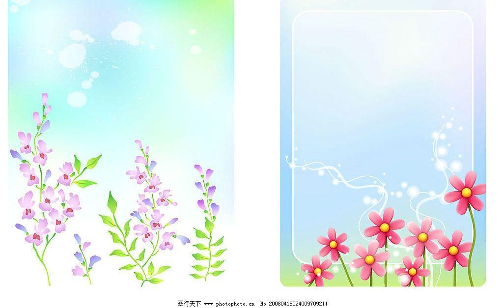 春日 花朵 渐变梦幻背景 两种花朵 自然景观 田园风光 梦幻 春天 矢量