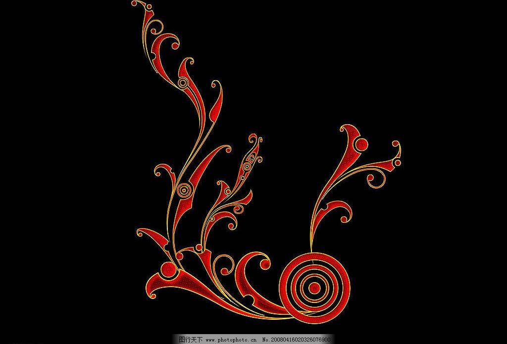 炫彩花纹 黑底色 橘色花纹 底纹边框 花边花纹 炫彩花纹集 设计图库