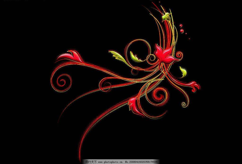 炫彩花纹 黑底色 红色花纹 底纹边框 花边花纹 炫彩花纹集 设计图库