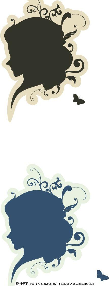 原创欧式花纹小妇人头像 女人 侧面 妇人 欧式花纹 其他矢量 矢量素材