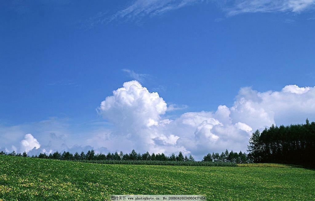 野外春天 天空 晴朗 白云 自然 自然景观 自然风景 天空与太阳