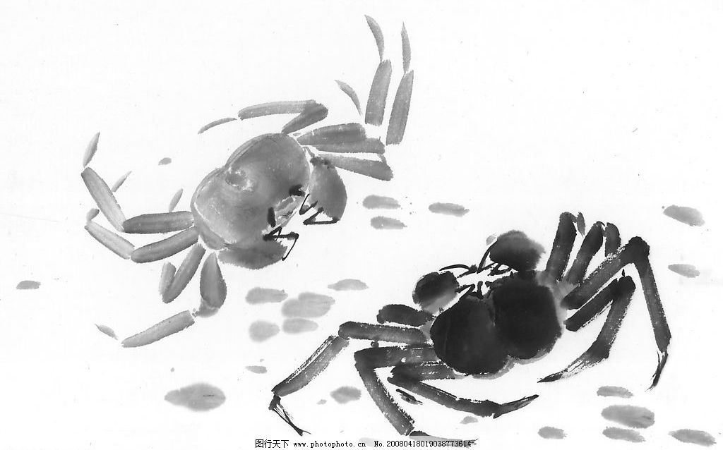 螃蟹 水墨国画 花鸟鱼虫 文化艺术 绘画书法 水墨花鸟鱼虫 设计图库 3