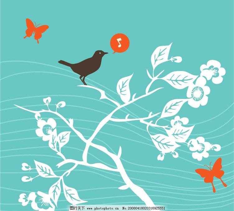枝头唱歌的小鸟矢量素材 树叶 鸟类 蝴蝶 树枝 音符 线条 花卉 底纹