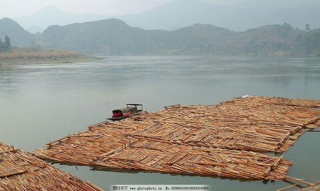 木筏 河水 远山 群山 小船 大河 河 自然景观 自然风景 摄影图库 72