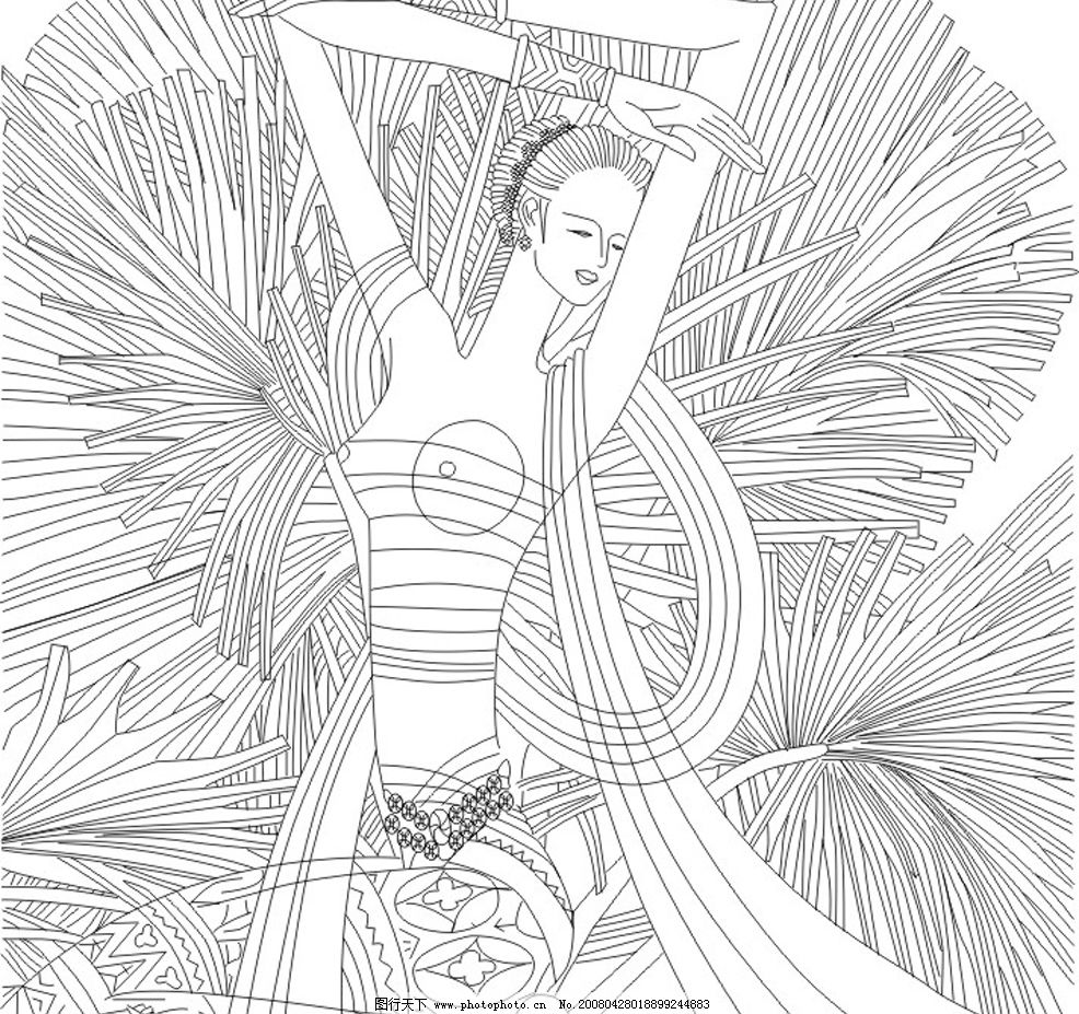 线描 人物 国画 工艺画 文化艺术 传统文化 传统纹样 矢量图库   cdr