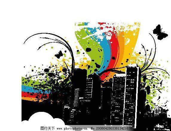 城市风景! 楼房 花纹 剪影 其他矢量 矢量素材 矢量图库   ai