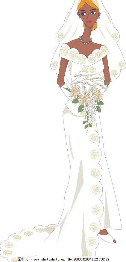 白色婚纱新娘 新娘 白色婚纱 矢量人物 妇女女性 矢量图库   ai