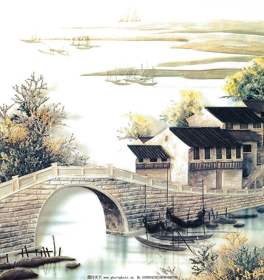 小桥流水 江南风情小桥流水高清画 文化艺术 绘画书法