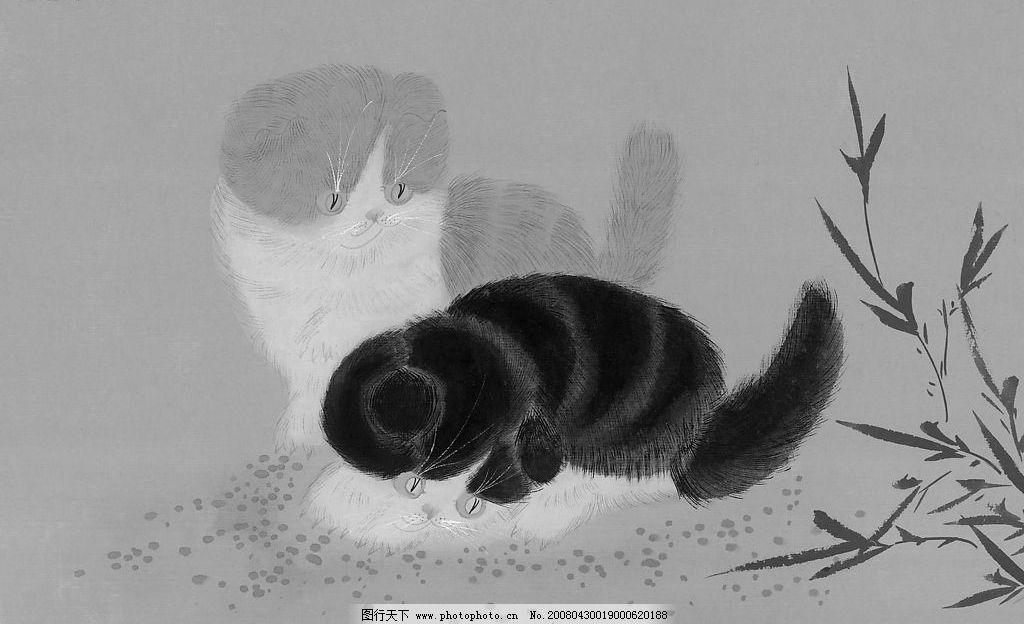可爱的小猫 水墨国画 文化艺术