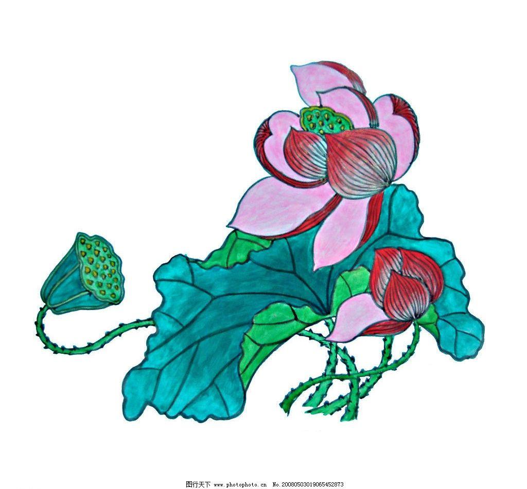水彩画 工笔画 绘画书法 美术绘画 荷花 文化艺术 设计图库 300 jpg