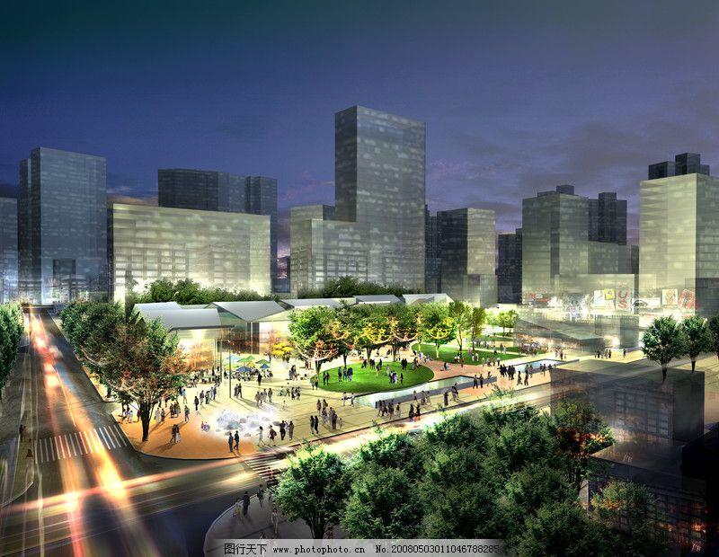 城市夜景鸟瞰半鸟瞰0001_建筑设计_装饰素材_图行天下