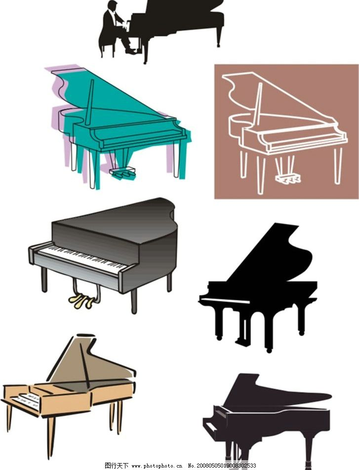钢琴 文化艺术 舞蹈音乐 矢量图库   cdr