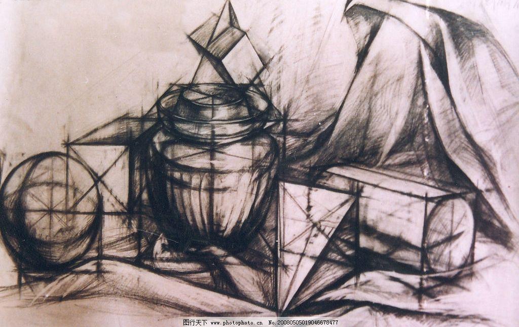 几何形体组合 素描 几何形体 结构素描 文化艺术 绘画书法 素描作品