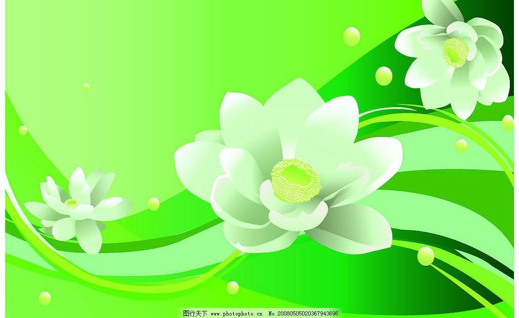荷花花边 荷花 绿色 花 美丽 白色荷花 底纹边框 花纹花边 矢量图库