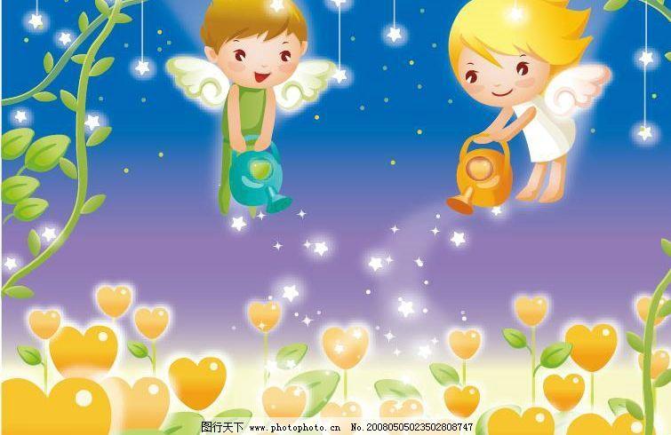 爱心天使 卡通 可爱 动漫 漫画 矢量素材 心 矢量人物 儿童幼儿 矢量