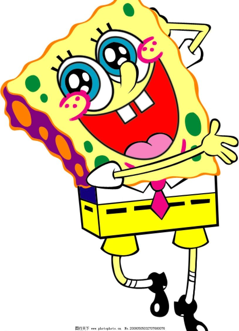 海绵宝宝系列 海绵宝宝 可爱 微笑 彩色 印花 服装图案 小领带 卡通