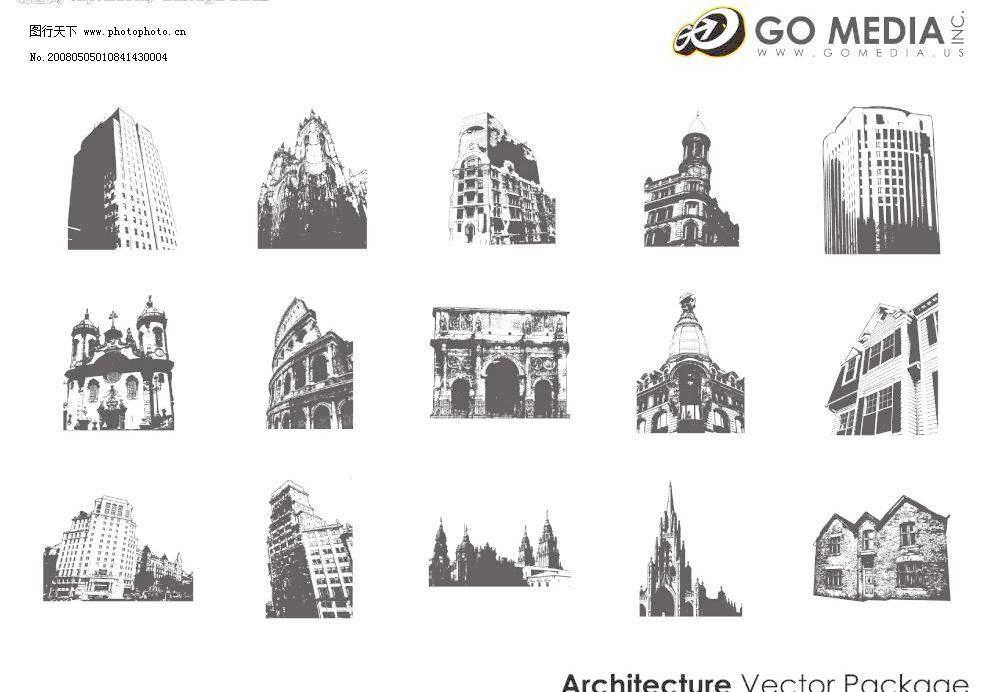 欧式黑白建筑图片