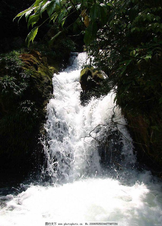 流水 树叶 自然景观 山水风景 我家山水 摄影图库