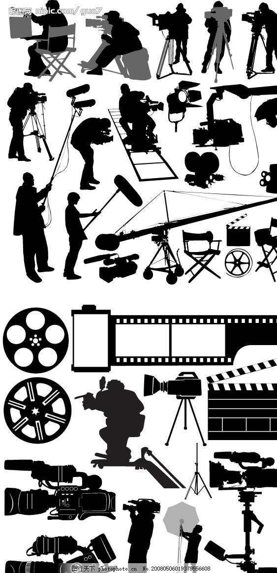 电影元素 胶卷 打板 摄像机 吊车 摄影架 剪影 摄影师 胶片 黑白 文化