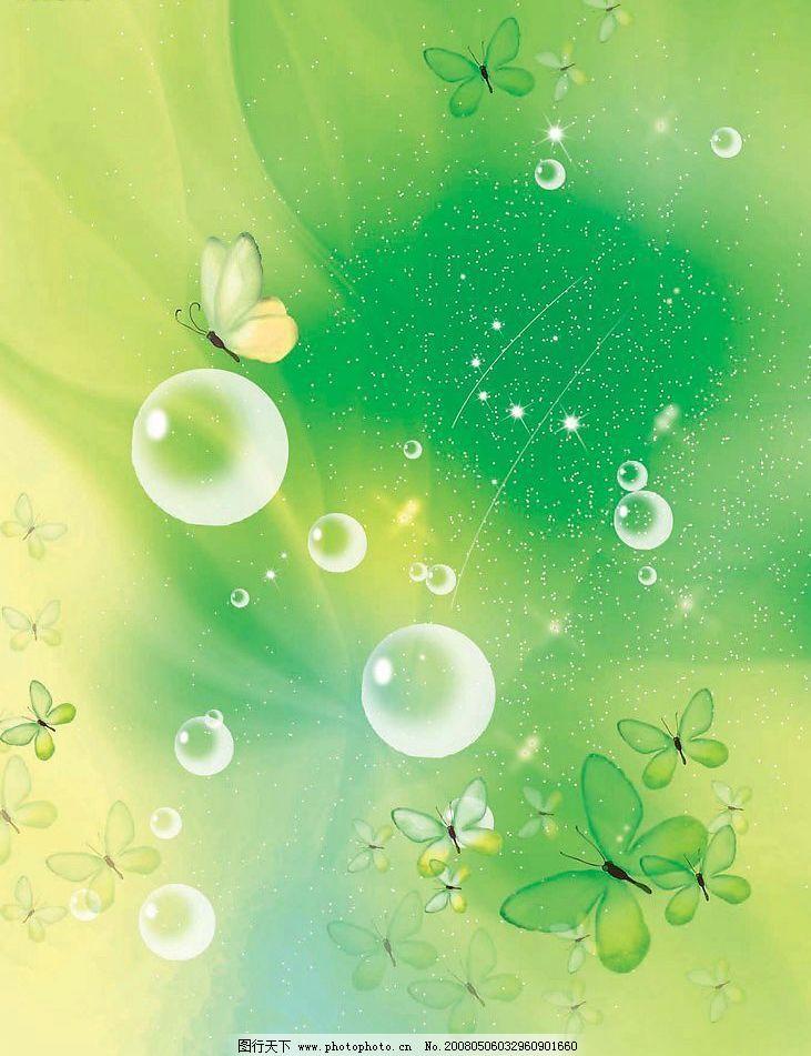 绿色背景-蝴蝶系列图片